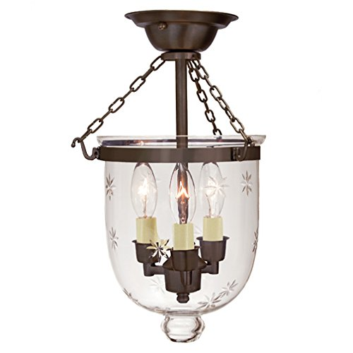 JVI Designs 1016-08 Semi Flush Bell Jar Lantern with Star Glass, Small ()