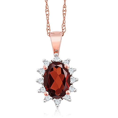 Gem Stone King 18K Rose Gold 0.58 Ct Oval Red Garnet White Diamond Pendant
