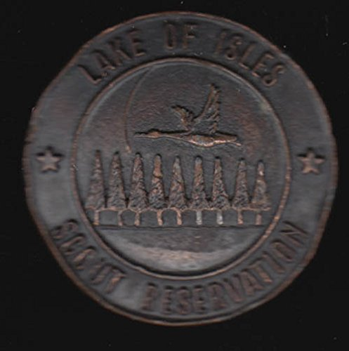 Lake of Isles Scout Reservation brass neckerchief slide CT