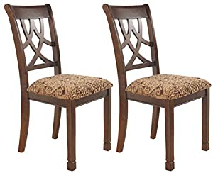 picture of Ashley Furniture Signature Design - Leahlyn Dining Upholstered Side Chair - Pierced Splat Back - Set of 2 - Medium Brown