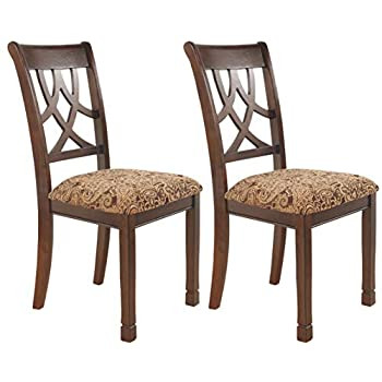 Image of Ashley Furniture Signature Design - Leahlyn Dining Upholstered Side Chair - Pierced Splat Back - Set of 2 - Medium Brown Home and Kitchen
