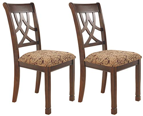 - Ashley Furniture Signature Design - Leahlyn Dining Upholstered Side Chair - Pierced Splat Back - Set of 2 - Medium Brown