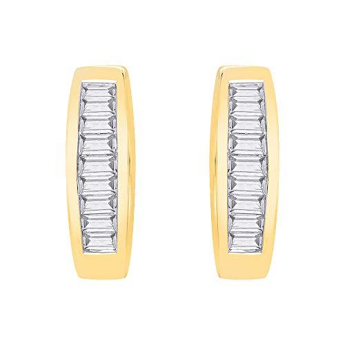 KATARINA Baguette Cut Diamond Huggie Earrings in 10K Yellow Gold (1/2 cttw, G-H, I2-I3)