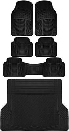 OxGord 6pc Full Set Ridged Rubber Floor Mats, Universal Fit Mat for SUVs Vans- Front Rear, Driver Passenger Seat, Rear Runner, and Trunk Liner Black (Set Heavyweight Mat Rear)