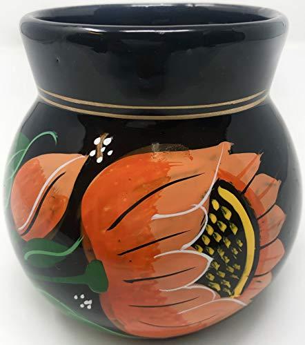 Beutiful Decocated Black Oaxaca Pottery Mug/Taza Para Cafe De Barro Negro Artesanal. (Rojo)