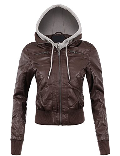 BEKTOME Womens Fleece Hood Faux Leather Zip Up Moto Biker Bomber Jacket (Cropped Bomber)