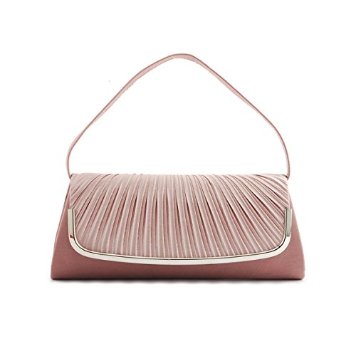 Satin Clutch Womens Simple Evening Pleated Bag Damara Silver gOftqIww