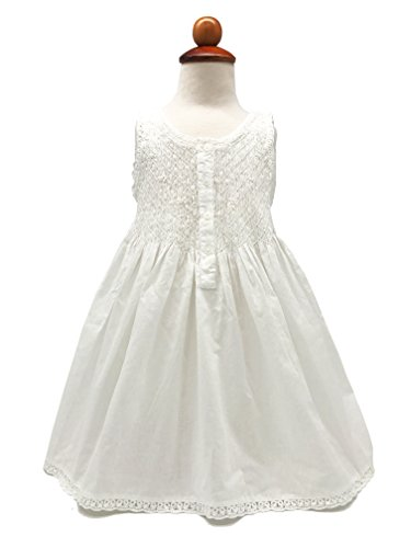 Handmade Girls' Embroidered Night Dress White - Age 2-9 - 3 Styles (ages 4-6, Smock Tatting Lace) (Smock Embroidered Dress)