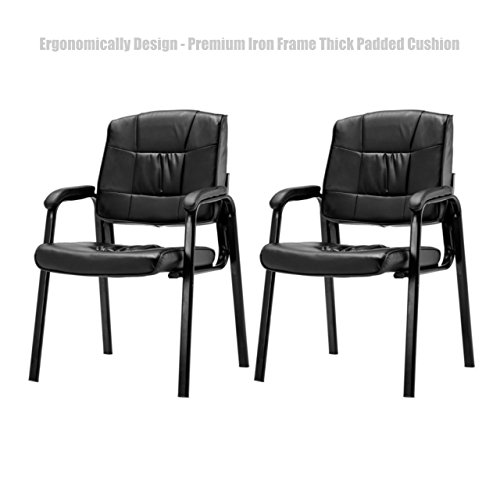 Ergonomic Design Office Conference Lecture Reception Chair Thick Padded PU Leather Cushion Seat Power Coated Finish Premium Iron Frame Armchair - Set of 2 Black - Shopping Deals Las Vegas