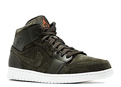 Jordan Men Air 1 Mid (Sequoia/Max Orange-White)