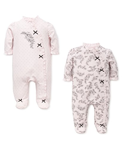 Little Me Baby 2 Pack Footies, Pink Floral, 3 Month