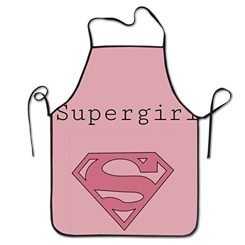 KXJBB Kitchen Apron- Supergirl Print, Barbecue Restaurant Coffee Shop Bib Aprons