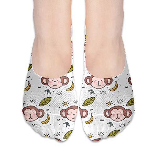 BRECKSUCH Monkey Doodle Pattern Suits Female Non Slip Boat Socks,Unique Casual Thin Polyester Cotton Low Cut Socks,Hidden Flat Boat Liner