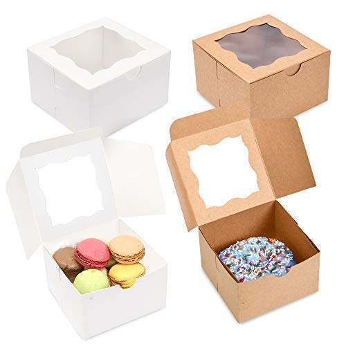 "{Pack of 50} Brown Bakery Boxes with Window 4x4x2.5"" Cute Cardboard Gift Packaging Containers for Cookies, Cupcakes, Small Desserts, Pastry, Wedding Cake, Baby Showers, Donuts, Treats, Party Favors!"