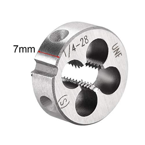 2 Pieces 1//4 inch-28 UNF Right Handed Round Punching Machine Threaded Threaded Threaded HSS high Speed Steel