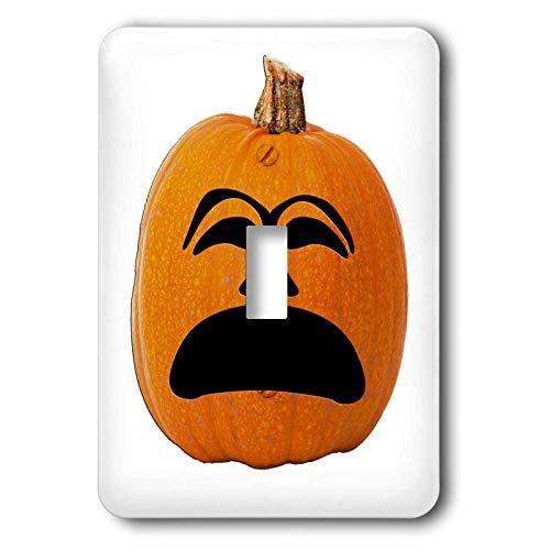 3dRose Sandy Mertens Halloween Food Designs - Jack o Lantern Unhappy Sad Face Halloween Pumpkin, 3drsmm - Light Switch Covers - single toggle switch (lsp_290216_1) -