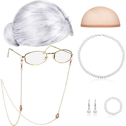 Old Lady Cosplay Set Granny Wig Cap Glasses Chain Cords Faux Pearl Bead Necklace (Sliver White Bun Wig)