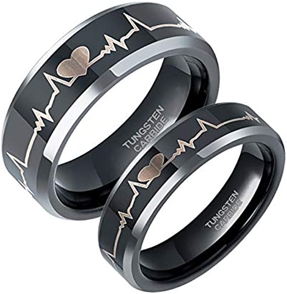 1f7f41f825d23 6mm 8mm EKG Heartbeat Wedding Band Silver Black Tungsten Carbide Ring for  Men Women Comfort Fit Size 4-15
