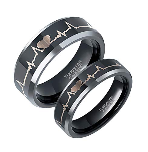 6mm EKG Heartbeat Wedding Band Black Tungsten Carbide Ring for Men Women Comfort Fit Size 5.5
