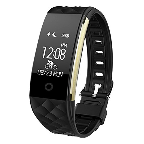 Bluetooth Smart Watch IP67 Waterproof Smart Bracelet Heart Rate Monitor Sports Wristband Fitness Tracker Multi-Sport Mode Health Monitor Pedometer Call Message Reminder for IOS Android Phone (Black)