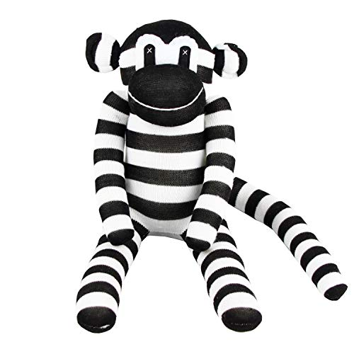 Handmade Black & White Striped Traditional Sock Monkey