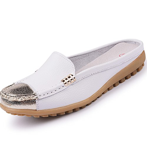 Casual Girls' On Shoes Uown Mule Backless Loafers White Leather Slip Women's x5tPqwPY