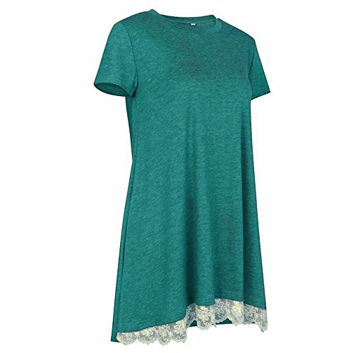 Women's Short Sleeve Tops,Lace Trim Scoop Neck A-line Tunic Swing Mini Dress Great Gift for Easter Mother's Day Costume (Green, 2XL) by Hotcl_Clearance Women Top (Image #3)