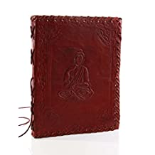 Classic Hand Embossed Leather Diary Journal with Holy Buddha Design, (8 x 6 inches) and Handmade Papers