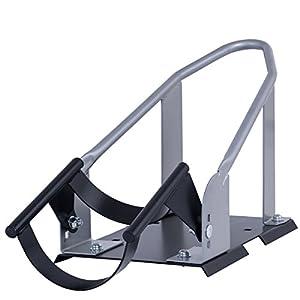 Goplus Motorcycle Wheel Chock Cradle Scooter Bike Stand Lift Mount Trailer (Silver)