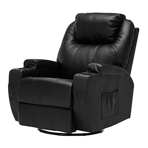 Swivel Glider Full Recliner Leather (Mecor Massage Recliner Chair Bonded Leather Heated Recling Living Room Lounge Sofa Chair w/Cup Holder/Remote (Black))