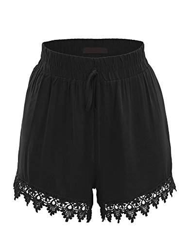 Lock and Love WB1765 Womens Woven Elastic Waistband Shorts with Crochet Trim S Black