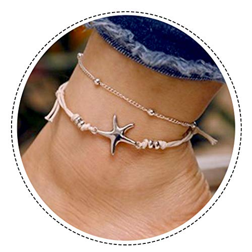 (Aukmla Starfish Beads Anklet Beach Ankle Bracelet Foot Chain Barefoot Sandal Adjustable for Women and Girls)