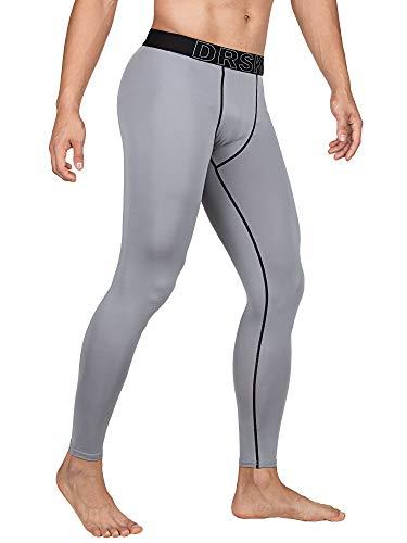 DRSKIN Men's Compression Warm Dry Cool Sports Tights Pants Baselayer Running Leggings Yoga (Line GR04, L)