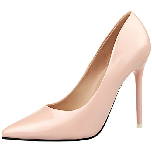 BIGTREE Patent Leather Women's Pointed Toe High Heels Dress Shoes Stiletto Court Shoes by Pink o1unqUsvw
