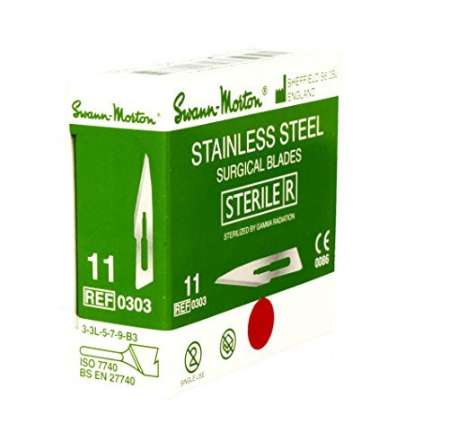 100 Box Scalpel Blades - Swann Morton No.11 STAINLESS STEEL Scalpel Blades - Box of 100 - New Dated 2022 - STERILE