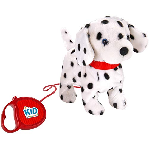 "Price comparison product image Kid Connection 9"" Plush Dalmatian Walking Pet Dog ,  Black & White Barking Tail Wagging Remote Control Leash"