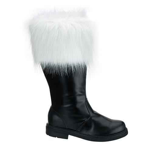 Santa-100 Boot w/Fur, Black Pu, Size Large(12/13)