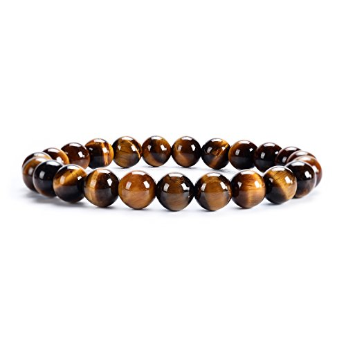 Tiger Brown Bracelet - Cherry Tree Collection Natural Semi-Precious Gemstone Beaded Stretch Bracelet 8mm Round Beads 7