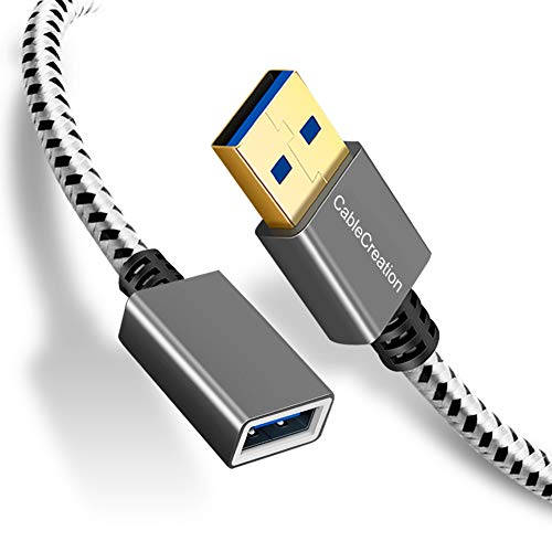 CableCreation 3.3 FT USB 3.0 Extension Cable, USB Male to Female Extender Cord, Compatible Oculus VR, Playstation, Xbox, Keyboard, Printer, Scanner, Space Gray Aluminum (3 Ft Usb Male To Female)