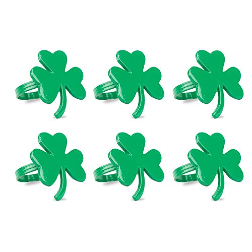 St Patricks Day Shamrocks (DII Napkin Rings for Spring, St. Patrick's Day, Parties, Everyday Use, Set of 6, Shamrock)