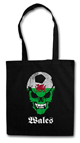 BLACK CLASSIC WALES FÚTBOL FOOTBALL SOCCER SKULL FLAG Hipster Shopping Cotton Bag Cestas Bolsos Bolsas de la compra reutilizables �?Bandera cráneo Gales Fan Hooligan Totenkopf Schädel Banner