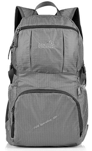 [Outlander Packable Handy Lightweight Travel Hiking Backpack Daypack-Grey] (Hiking Travel Backpack)