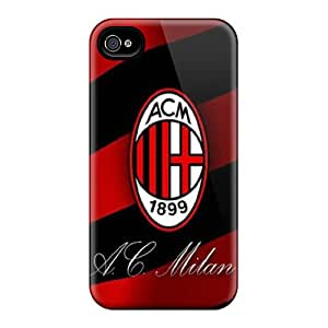 Protector Hard Phone Case For Iphone 4/4s With Custom Realistic Ac Milan Pattern Marycase88