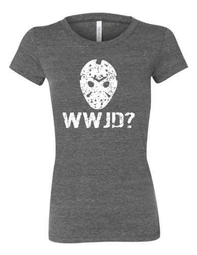 X-Large Charcoal Womens WWJD What Would Jason Do? Funny Horror Movie Tri-Blend Short Sleeved (Jason Voorhees Clothes)