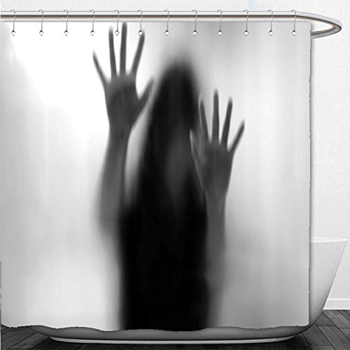 Beshowere Shower Curtain Horror House Decor Silhouette of Woman behind the Veil Scared to Death Obscured Paranormal Photo Gray by Beshowere