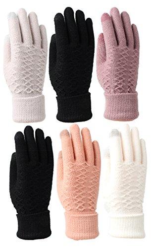 Women's Fleece Lined Acrylic Magic Glove with Touchscreen Technology 6 Pair Roll Up (Acrylic Fleece)