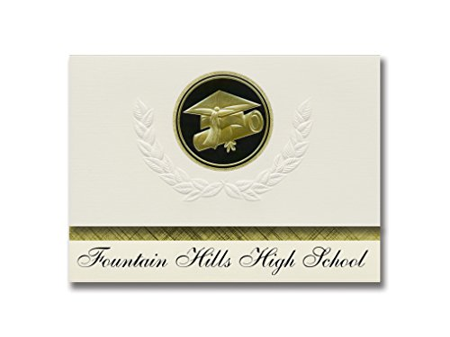 Signature Announcements Fountain Hills High School (Fountain Hills, AZ) Graduation Announcements, Presidential style, Elite package of 25 Cap & Diploma Seal. Black & Gold.