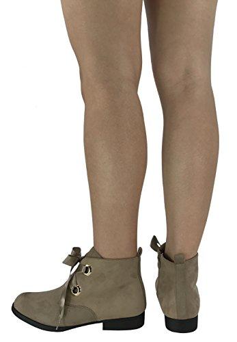Heel Ankle Faux Bootie Up Lace Fashion Ella Women's Flat Suede Taupe Steven Ribbons xqTaOc