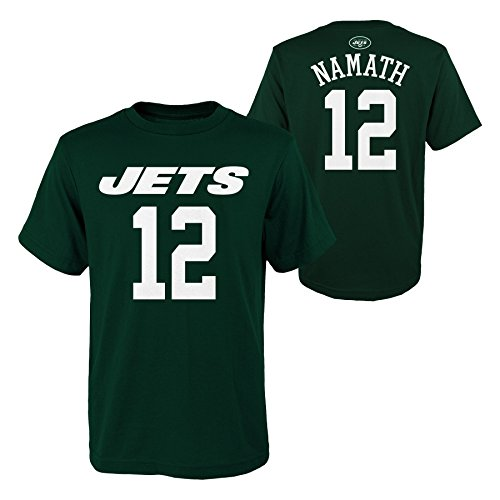 Outerstuff NFL New York Jets Joe Namath Youth Boys Retired Player Mainliner Name Short Sleeve Tee, Small/(8), Hunter