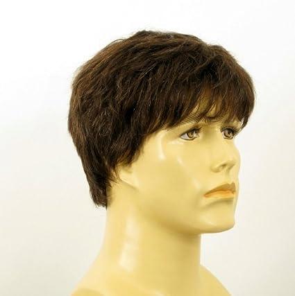 Peluca hombre cabello 100% natural marrón con pelo blanco LAURENT 6SPW